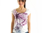 2014 Summer Violet Tulip  Butterfly Women Top, one side printed