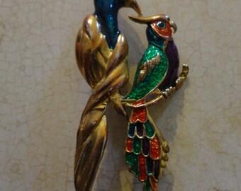 Vintage Enamel Bird Pin/brooch