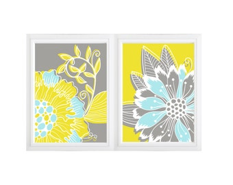 """2 Printable Wall Art Print Flower burst Kitchen Living Room Home Decor Poster in Yellow and Grey 8""""x10""""  =2 files (Jpeg) - INSTANT DOWNLOAD"""