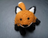 Red Fox Sculpture, Posable Jointed Woodland Creature, Needle Felted Wool Animal for Charity
