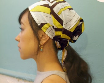 Head covering Scarf, cooking head scarf, adult headwrap, Chemo scarf, Your choice of Blue Black or Yellow Brown on White