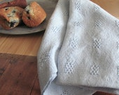 Light Blue Cottage Chef's Kitchen Hand Towel, Country Farmhouse Home Decor Gift for Gourmet Foodie Cook Baker, Handwoven Cotton Lace Block