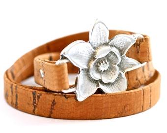 Earth Day Bracelet , Cork Bracelet , Wrap Bracelet , Vegan Bangle , Vegan Jewelry , Vegan Wrap , Sustainable , Earth Friendly , Eco Friendly