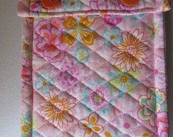 Handmade, Quilted pink flower case for Kindle,Nook,E reader with button closing