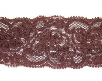 "2 yards Chocolate Brown galloon STRETCH lingerie headband sewing lace 2"" wide"