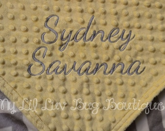 Personalized baby blanket- yellow with grey and white chevron - 30x35 stroller blanket