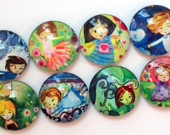 Magnets - Little Ladies  - Set of Eight 1 Inch Round Glass Magnets