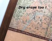 Magnet Board-Dry Erase Board-Magnetic Memo Board-Wall Decor - Organization-Framed Memo Board-Vintage Paris Map Patchwork Design-Incl Magnets