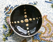 """Tiny, Stoneware Dish with Black and Gold Cross / Small and Decorative / """"ASTERISM 11"""""""