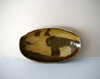 "Nerikomi Oval Dish / Small Brown and Cream Veneer Hand-Built Dish with Golden Celadon Glaze / ""MAPLE"""