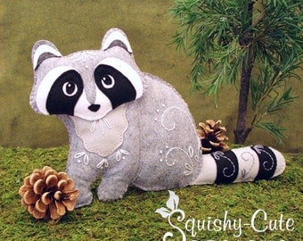 Raccoon Sewing Pattern PDF - Woodland Stuffed Animal Felt Plushie - Rita the Raccoon