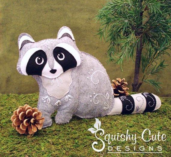 Raccoon Sewing Pattern PDF - Woodland Stuffed Animal Felt Plushie - Rita the Raccoon