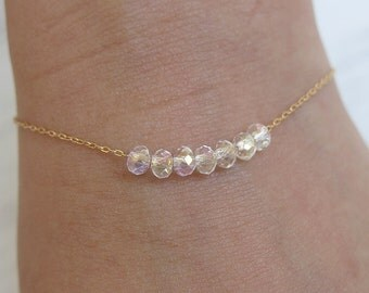 crystal bracelet, gold bracelet, thin delicate, chain bracelet, dainty gold bracelet, bridal bracelet, minimalist bracelet, tiny bracelet,