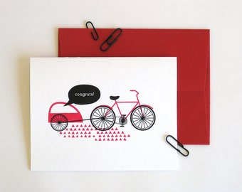 Screen printed card - baby bike carrier