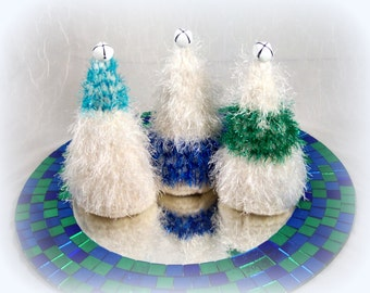 Christmas Trees Color Block Green, Blue and Turquoise Petite Felted Forest