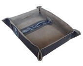 Tale Feathers Valet Tray (all-natural leather, navy with grey)