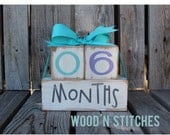 Countdown Photo Prop Baby Maternity Personalized Kid Child Age Wood Blocks Gift Shower Hand Painted