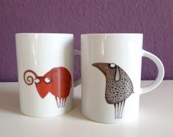 1 Amaryll-Kobelkowsky Coffee Mug cup and 1 Widda-Marmabachi Coffe Cup