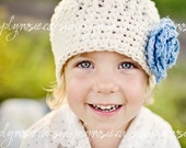 Ivory Women's Hats, Crochet Hat for Women, Teen Crochet Beanie, Hat with Flower, Off White, Blue, Cotton