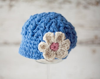 Blue Crochet Newborn Hat, Crochet Hats for Baby, Newsboy Hat with Flower, Crochet Baby Hat for Girl
