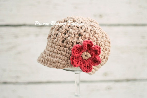 Crochet Baby Hat with Flower, Crochet Infant Hat for Girls, Baby Girl Clothes, Newborn Girl Photo Prop, Newborn Size