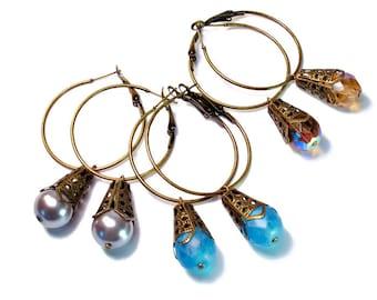 SALE! Antiqued Bronze, Hoop Drop Earrings, Bead Dangles, in Pearl, Peach or Turquoise, Everyday Jewelry