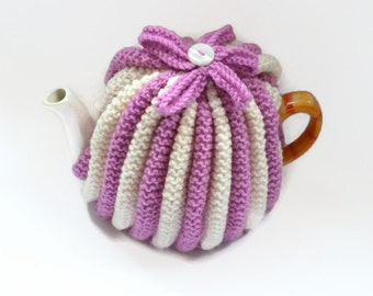 teapot cozy hand knitted tea cosies pink and cream tea cosy