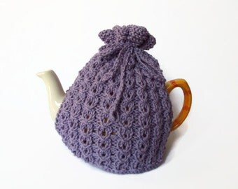tea cosy hand knitted  purple cozy