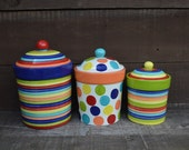Custom One Of A Kind Set of 3 Ceramic Canister Set - Domed Lids - XL, L, M - Rubber Seals Included - Made to Order