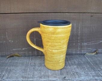Earth Tone Ceramic Travel Mug with Lid - Twist Closure - Butterscotch - Seconds Sale