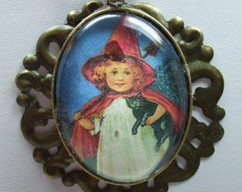 SALE Halloween Vintage Portrait Domed Glass Necklace Pendant- Super  UNIQUE