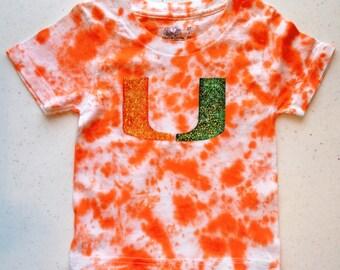 Uf university of florida baby blanket gator logo um university of miami hurricanes shirt toddler kids tie dye hand painted negle Image collections