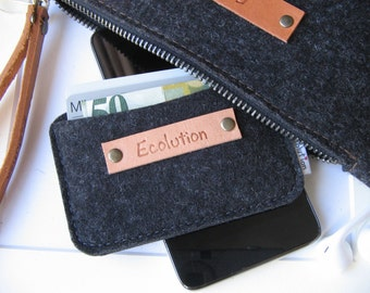 Wool felt business card  holder.Credit card case.Eco friendly.Handmade.Charcoal silver gray.
