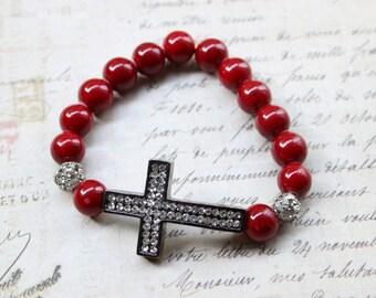 Gunmetal Plated Sideways Rhinestone Cross Stretch Bracelet, Blood Red