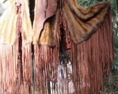 showdiva designs Dramatic Mink Cape with Floor Length Fringe Rock STAR Chic