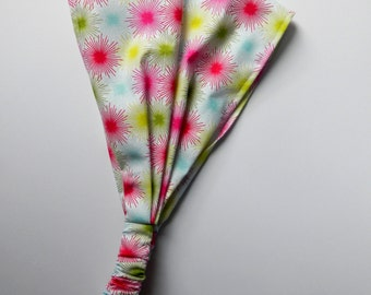 Yoga Headband Cotton Bandana - Josephine Kimberling for Blend, Star Bursts in White fabric