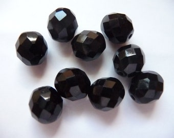 Bead, Preciosa, Czech, Fire Polished, Glass, Jet, 10mm, Faceted, Round, Pkg Of 9