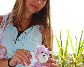 Crochet Pink Sheep Bag, Pink Crochet Sheep iPhone Case, Crochet Sheep iPhone Case, Crochet Fluffy Pink Sheep Bag, Childrens Sheep Toy