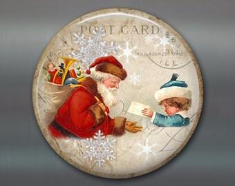 vintage christmas fridge magnet, vintage santa fridge magnet, santa magnet christmas decoration, kitchen decor, large magnet MA-1347