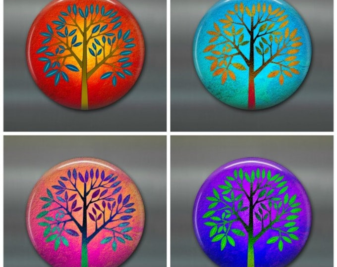 "3.5"" colourful trees fridge magnet set, leaf magnet, fall decor, autumn decor,  kitchen decor, large fridge magnet, housewarming gift"