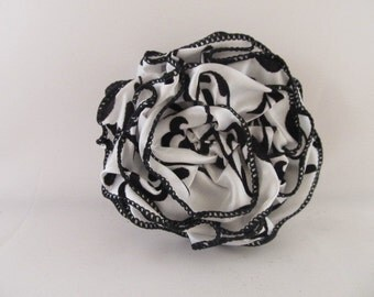 Ribbon Rose Pin-Hair Clip-Brooch-Black and White