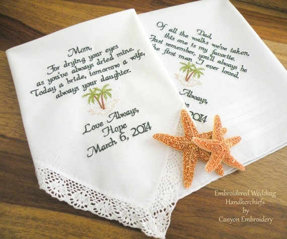 Wedding Gift Ideas Embroidered : Mom & Dad Wedding Gift Monogram Embroidered Wedding Handkerchief by ...