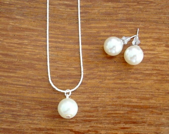 Set of 5 Single Pearl Drop Necklace and Stud Bridesmaid Jewelry Gift Sets - Necklace and Earrings, Weddings