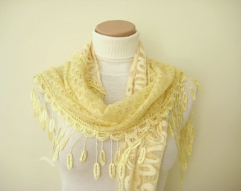 Yellow Scarf - Light yellow lace triangle foulard with a flower and fringes - Gift for Her - Ready to Ship