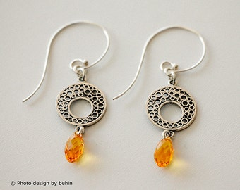 Yellow Sunflower Teardrop Faceted Swarovski Crystal Earrings with Sterling Silver Circles Filigree, Yellow Statement Fashion Earrings