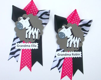 Hot Pink Zebra Grandma's Baby Shower Corsage  - Smaller Version to match my Mommy's Corsage - Made To Order