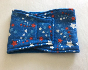 Glittery Red, White and Blue Stars - Male Dog Diaper - Belly Band - Available in all Sizes
