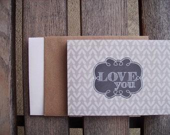Love You - Valentine Card, Anniversary Card, Chalkboard Style Greeting Card, Friendship Love, Light Heather Grey Hearts Chalk Frame, Modern