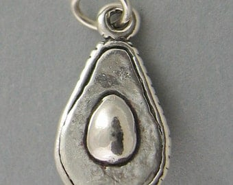 Sterling Silver 925 Charm Pendant 3D AVOCADO HALF 3597