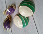 Vintage Purple & Green Clip On Earrings